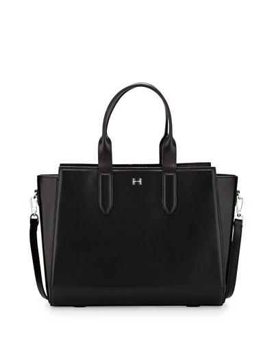 Leather East/West Satchel Bag, Black
