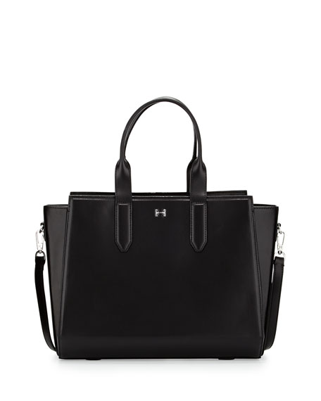 Leather East/West Satchel Bag, Black
