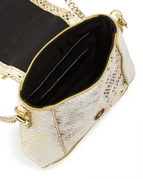 Snakeskin-Embossed Leather Clutch