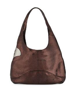 Leather Sack Hobo Bag, Pomegranate