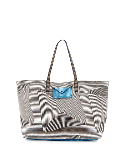 Metropolitote Optical-Stripe-Print Tote Bag, Black Multi