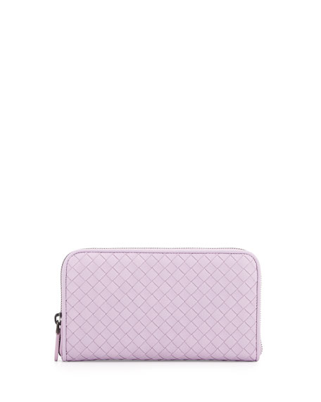 Woven Leather Continental Wallet, Parme