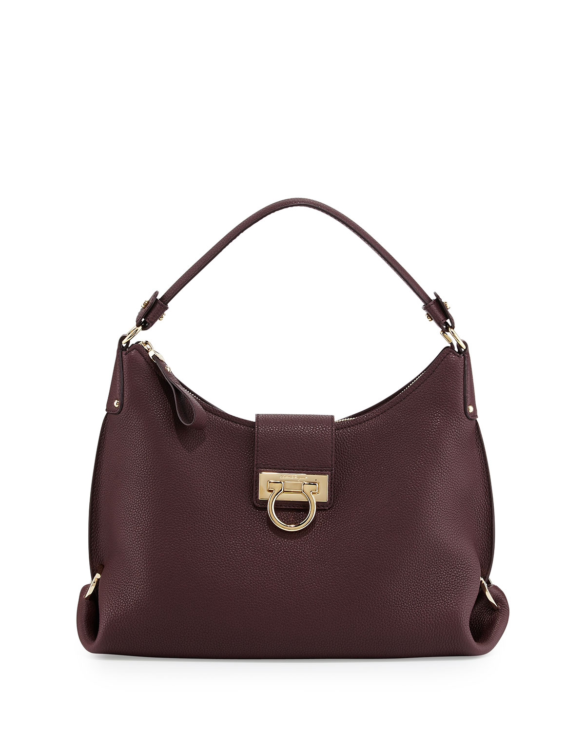 2047296996 Salvatore Ferragamo Fanisa Pebbled Gancini Hobo Bag