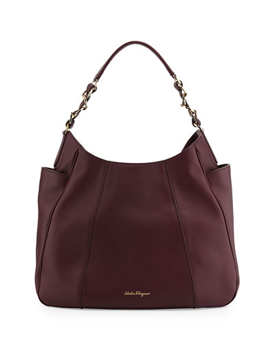 Elle Gancini-Chain Leather Hobo Bag, Rouge Noir