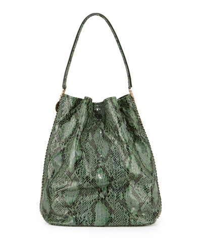 Faux-Snake Hobo Bag, Green