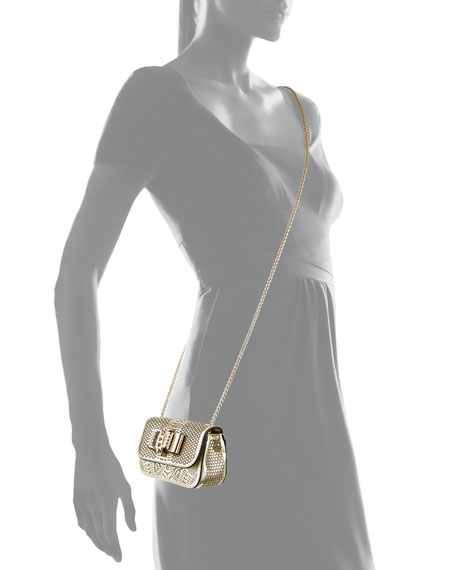Sweet Charity Laser-Cut Mini-Crossbody Bag, Gold