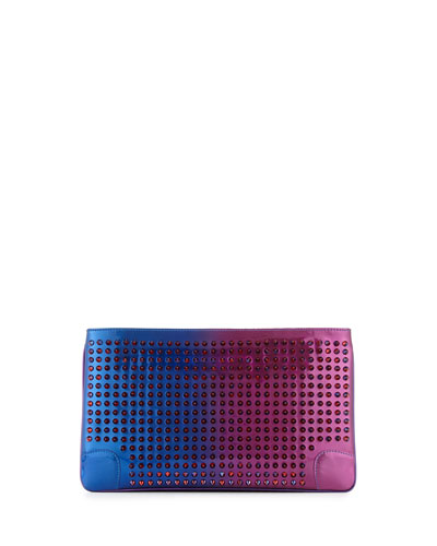 Loubiposh Spikes Patent Clutch Bag, Metallic Pink