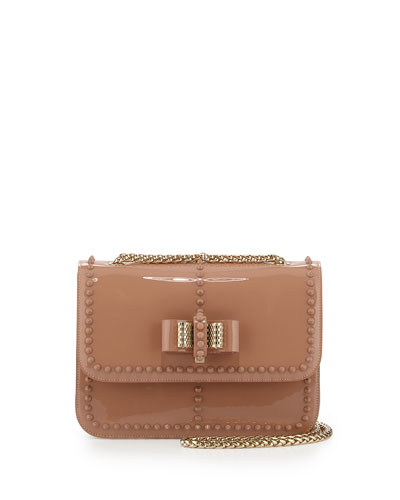 Sweet Charity Patent Spike Shoulder Bag, Nude