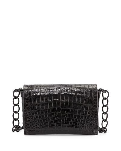 Medium Glossy Croc Crossbody Bag, Black