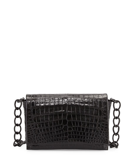 Medium Glossy Croc Crossbody Bag, Black