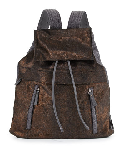 Calf Hair and Flannel Backpack, Bronze