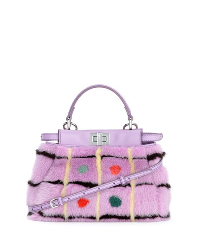 Peekaboo Mini Mink Fur Bag, Lavender