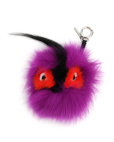 Monster Fur Charm for Handbag, Pink Multi