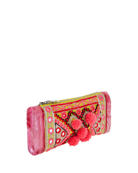 Embroidered Pom-Pom Clutch Bag, Multi