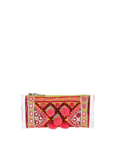 Embroidered Pom-Pom Clutch Bag, Multi