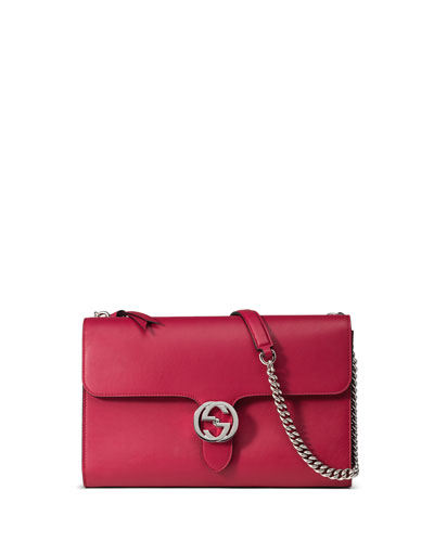 Linea B Medium GG-Clasp Shoulder Bag, Bright Pink