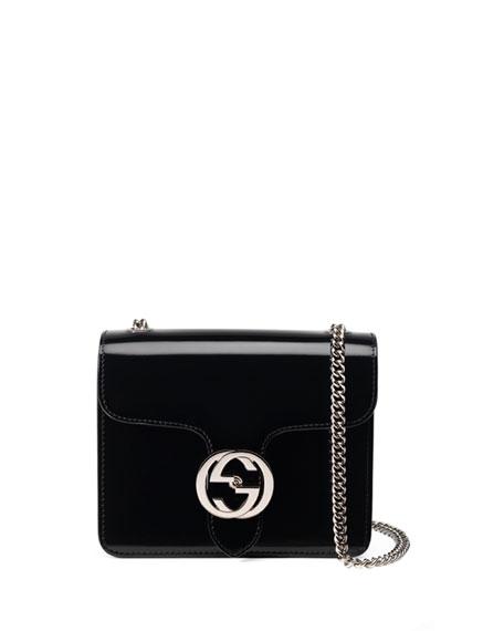 Gucci Interlocking Polished Leather Shoulder Bag, Black