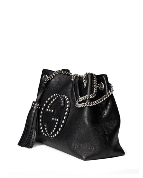 Soho Chain-Strap Studded Leather Shoulder Bag, Black