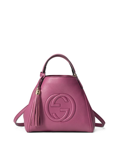 Soho Leather Small Shoulder Bag, Pink
