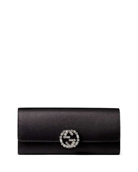 Broadway Satin Evening Clutch Bag, Black