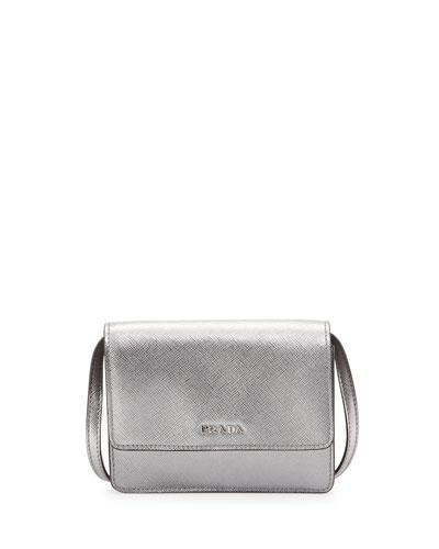 Saffiano Mini Crossbody Bag, Silver (Cromo)