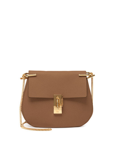 Drew Small Leather Shoulder Bag, Nude