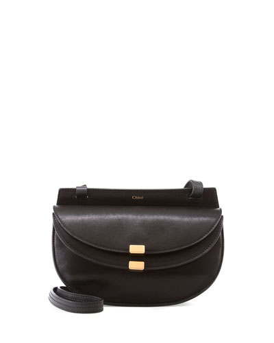 Georgia Mini Leather Crossbody Bag, Black