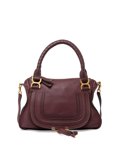 Marcie Medium Satchel Bag, Bordeaux