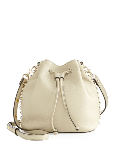 Leather Studded Bucket Bag, Khaki/Light Gold
