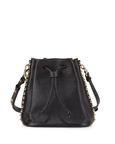 Stud-Trim Leather Bucket Bag, Black/Light Gold