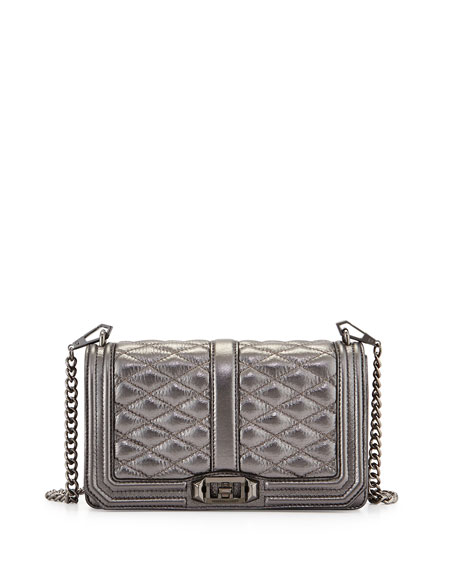 Love Metallic Quilted Crossbody Bag, Gunmetal