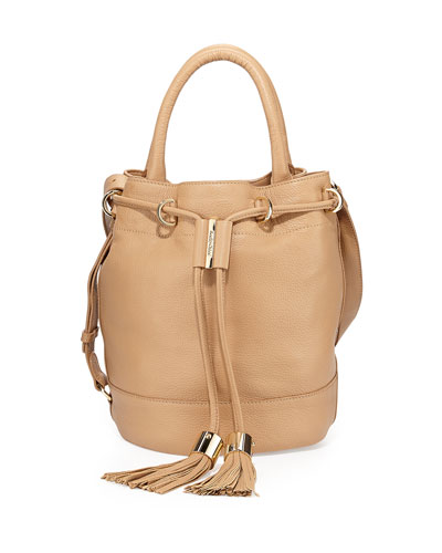 Vicki Leather Bucket Bag, Cappuccino