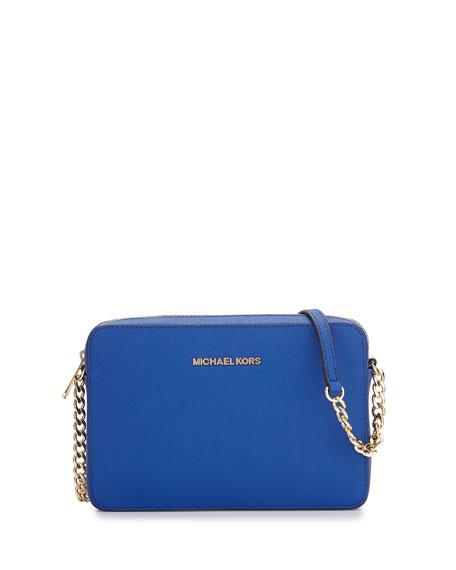 Jet Set Travel Saffiano Crossbody Bag, Electric Blue
