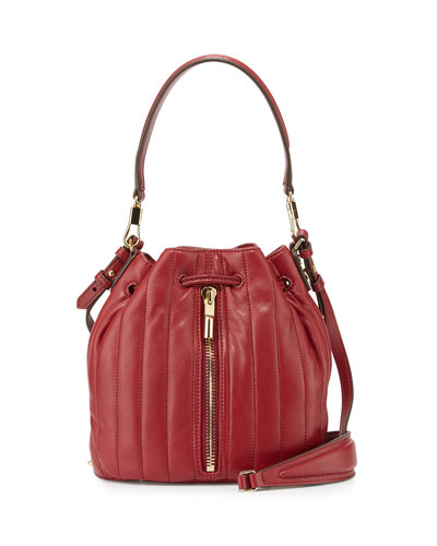 Cynnie Mini Belted Bucket Bag, Red Clay