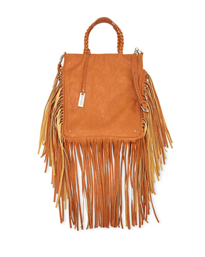 Luxe Fringed Faux-Leather Tote Bag, Tan
