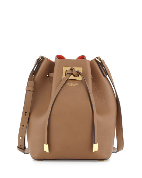 Miranda Medium Drawstring Messenger Bag, Desert/Clementine