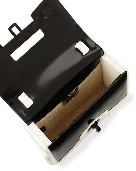 Kara Ross Lux Mini Matte Python Clutch Bag, White/Black