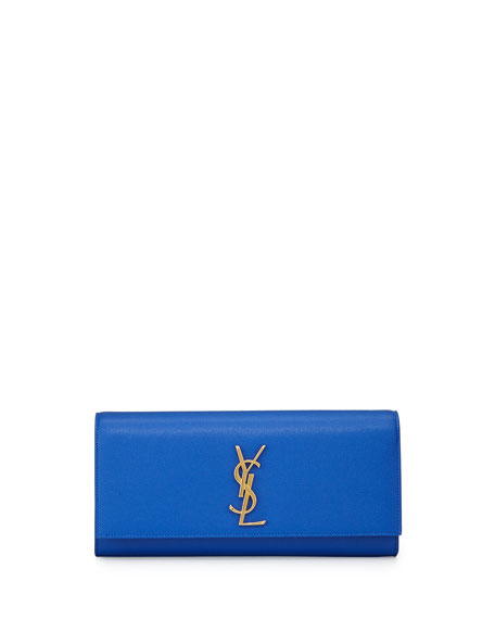 Monogram Calfskin Clutch Bag, Blue