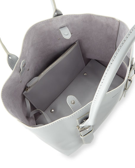 Legend Small Leather Tote Bag, Silver