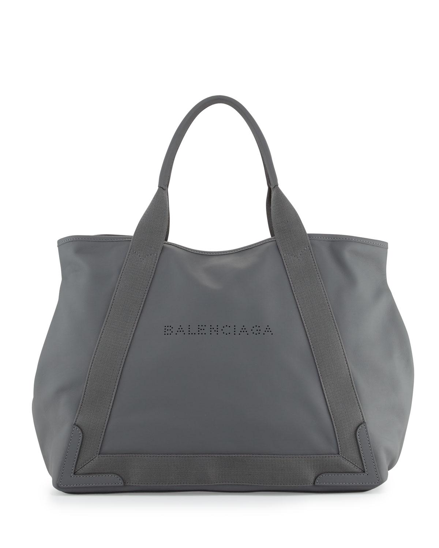 605c171e3cf Balenciaga Navy Cabas Medium Leather Tote Bag, Gray | Neiman Marcus