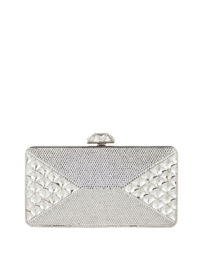 Diamond Crystal Box Clutch Bag, Silver Rhinestone