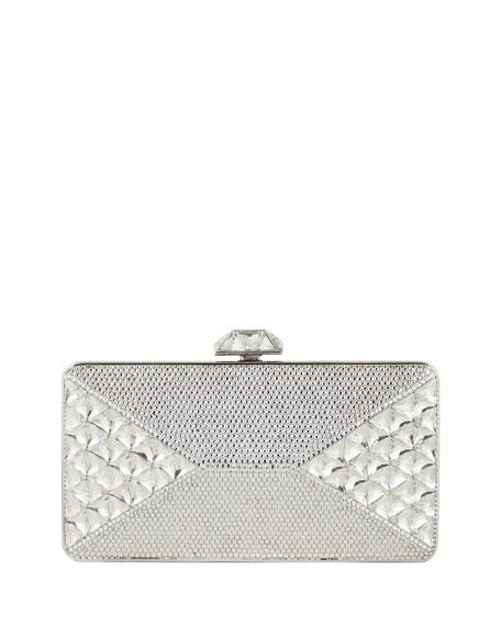 Diamond Crystal Box Clutch Bag, Silver Rhinestone