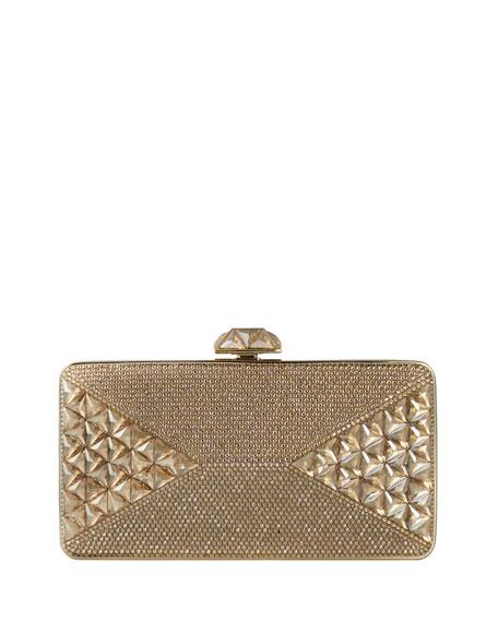 Diamond Crystal Box Clutch Bag, Champagne