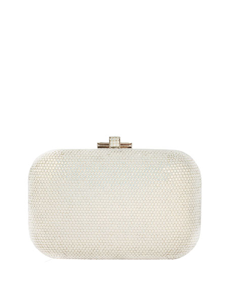 Crystal Slide-Lock Clutch Bag, Silver White Opal