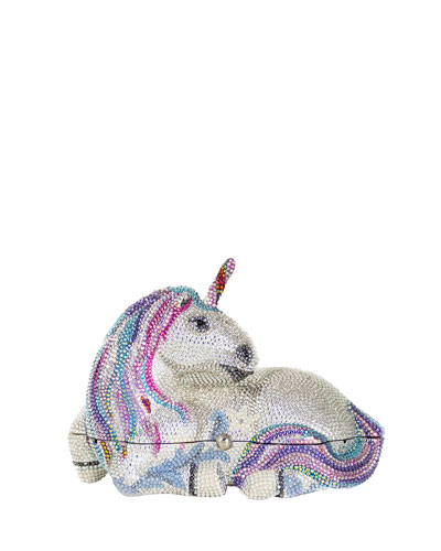 Unicorn Crystal Clutch Bag, Silver Rhinestone