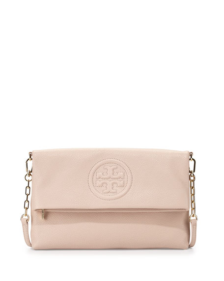 Tory Burch Bombe Fold-Over Clutch Bag, Light Oak
