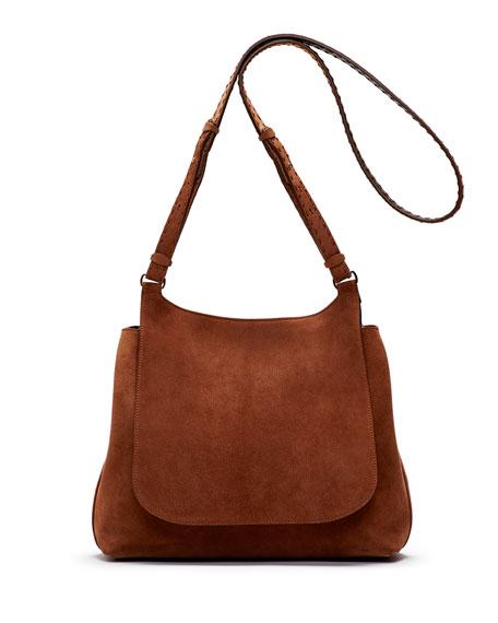 Sideby Suede Shoulder Bag, Saddle