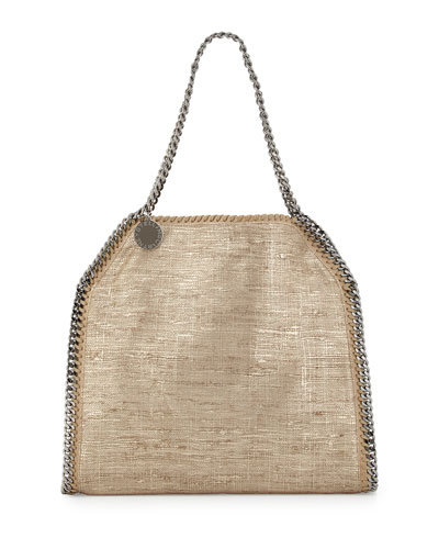 Falabella Metallic Fabric Tote Bag, Sand