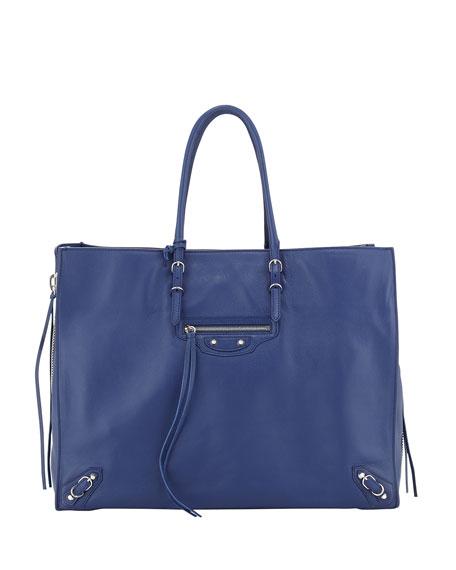Papier A4 Side-Zip Leather Tote Bag, Bleu