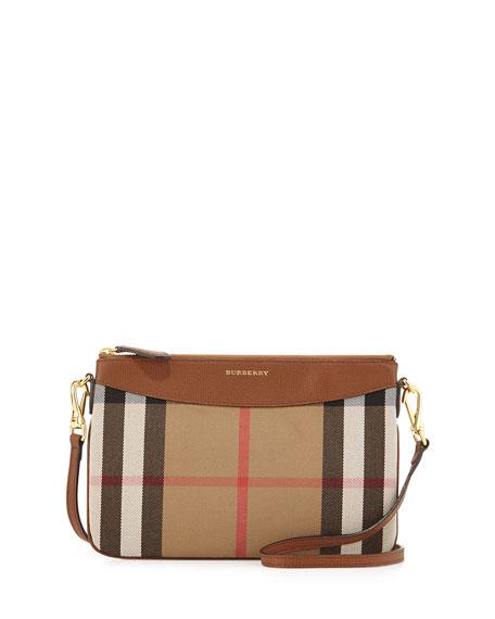 House Check Crossbody Bag, Tan